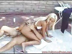 Giving blonde bikini girl a fuck on pool deck tubes