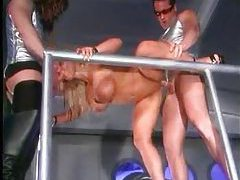 Lovette fucked in threesome in space station tubes