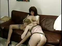 Lingerie retro ladies get on top and eat tubes