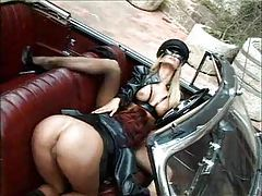 Girls do kinky lesbian sex outdoors with toys tubes