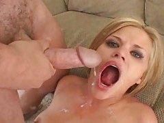Blonde swallows lots of cumshot tubes