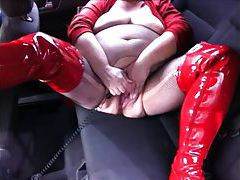 Fat girl in thigh high latex boots public play tubes