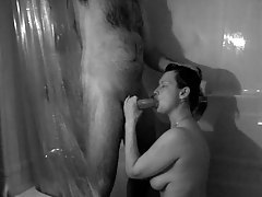 Couple does homemade porn in shower tubes