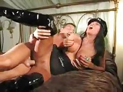 Lady cop in latex boots wants his cock tubes