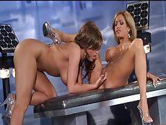 Lesbians in shiny bikinis strip for sex tubes