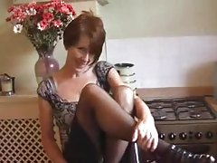 Mature in her kitchen does sensual striptease tube