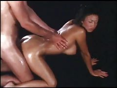 Oiled up chick gives a great handjob tubes