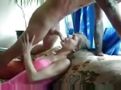 Pink lingerie blowjob and facial tubes