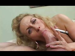 Mature smokes and gobbles a thick dick tubes