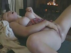 Chubby chick masturbating both holes tubes