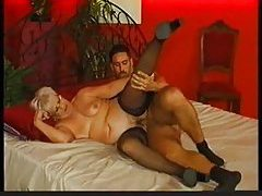 Granny in black stockings slammed hard and deep tubes
