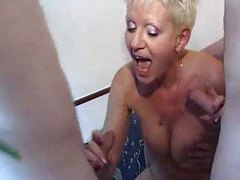 Old slut riding cock in a gangbang tubes