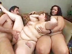 Two fat sluts and one slim guy playing tubes