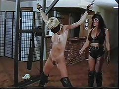 Lesbian in bondage is smacked around by a mistress tubes