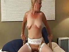 Sexy mature in white stockings crammed tubes
