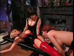 Latex lesbian bondage action tubes