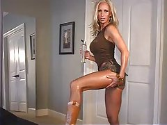 Sexy blonde doing seductive modeling tubes