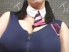 Busty schoolgirl chick takes her clothes off tubes