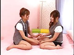 Japanese girls in pink bed making pussy happy tubes