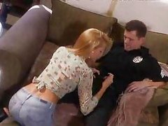 Cop drills a super hot blonde chick tubes