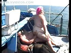 Super BBW is fucked on a boat tubes