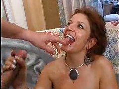 Mature gets nailed and facially creamed tubes