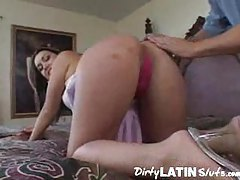 Latin girl with pierced nipples in foreplay tubes
