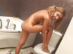 Shy teenie undressing in bathroom tubes