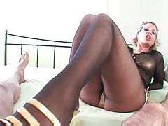 Black pantyhose footjob until he cums tubes