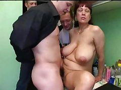 Mature lets three young men have her tubes