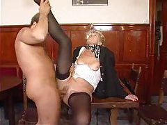 Granny in stockings wants his hard cock tubes