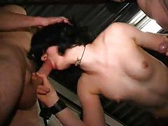 Goth slut with three guys for gangbang tubes
