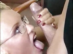 Blonde in glasses has office sex tubes