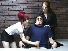 Miss Kendra teaches goth girl to give handjob tube