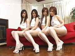 Four Asian chicks in an orgy tubes