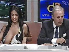 Huge tits girl on Italian news program tubes