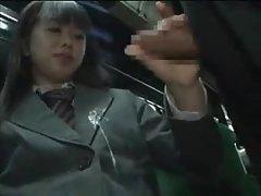 Schoolgirl gives handjob on a bus tubes