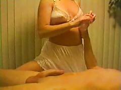 Blonde in white panties gives handjob tubes