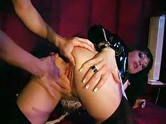 Italian hottie in latex and collar fucked tubes