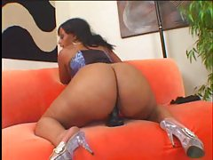Black fatty in a corset gets black cock tubes