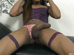Skinny shemale strokes her big dick tubes