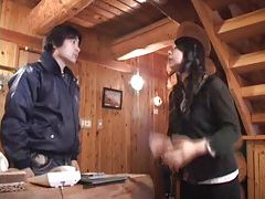 Japanese girl titjob at a cabin in the woods tubes