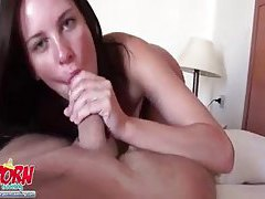 GF sits on his cock and takes him in her pussy tubes