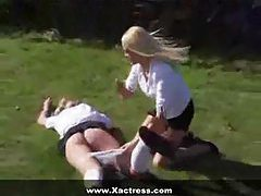 Headmaster spanks the schoolgirls hard tubes
