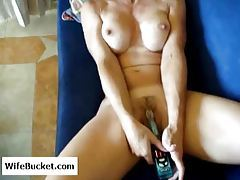 Busty and super hot wife using a toy tubes