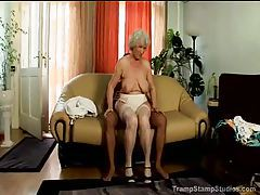 Big titty granny in stockings pounded tubes