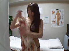 Skinny Japanese girl fucked during massage tubes