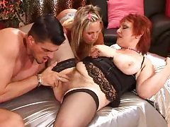 Mature redhead joined by young couple tubes