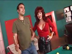 Milf in tight red top is fucked by two men tubes