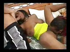 Black girl with hot cameltoe does a DP tubes